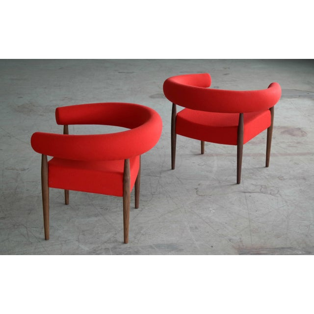 Pair of Nanna Ditzel Ring Chairs in Walnut and Wool for GETAMA For Sale In New York - Image 6 of 10