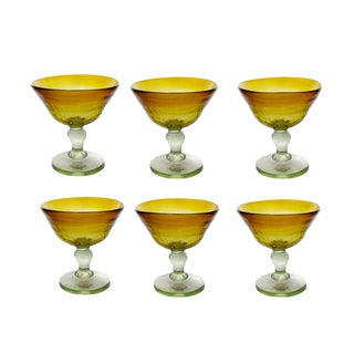 Vintage Hand Blown Green and Amber Margarita Martini Drinking Stemmed Glasses - Set of 6 For Sale