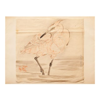 19th C. The Great Egret Meiji Era Large Japanese Watercolor Painting For Sale