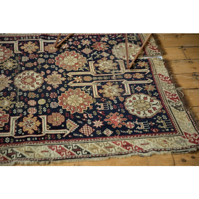 "White Antique Caucasian Rug - 3'9"" X 5'1"" For Sale - Image 8 of 13"