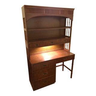 Mid-Century Dixie Faux Bamboo Campaign Desk and Hutch For Sale