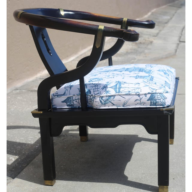 James Mont Vintage James Mont Black Lacquer Ming Chair For Sale - Image 4 of 13