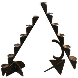 Matched Set of 1987 Pucci De Rossi Iron Candlesticks for H. Stuart Dolin For Sale