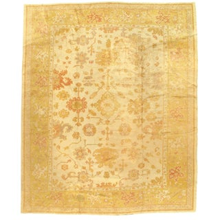 Early 20th Century Antique Turkish Oushak Hand-Knotted Rug - 9′2″ × 11′2″ For Sale