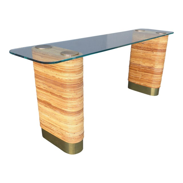Vintage Mid-Century Double Pedestal Bamboo Rattan Wrapped Glass Top Console Table - Image 1 of 11