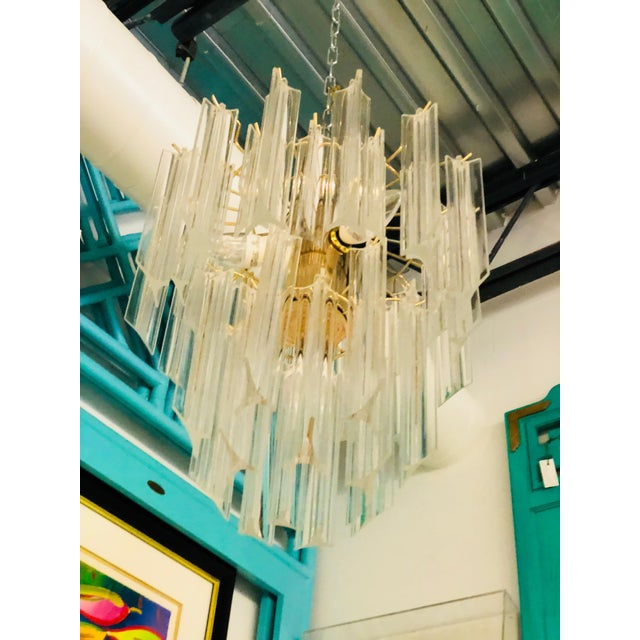 Mid Century Modern Lucite and Brass Waterfall Chandelier - Image 2 of 7
