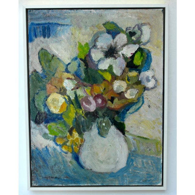 Mid Century Oil on Canvas Painting of Flowers in a Vase For Sale - Image 4 of 5