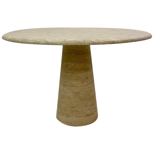 Round Dining Table in Travertine in Style of Angelo Mangiarotti For Sale