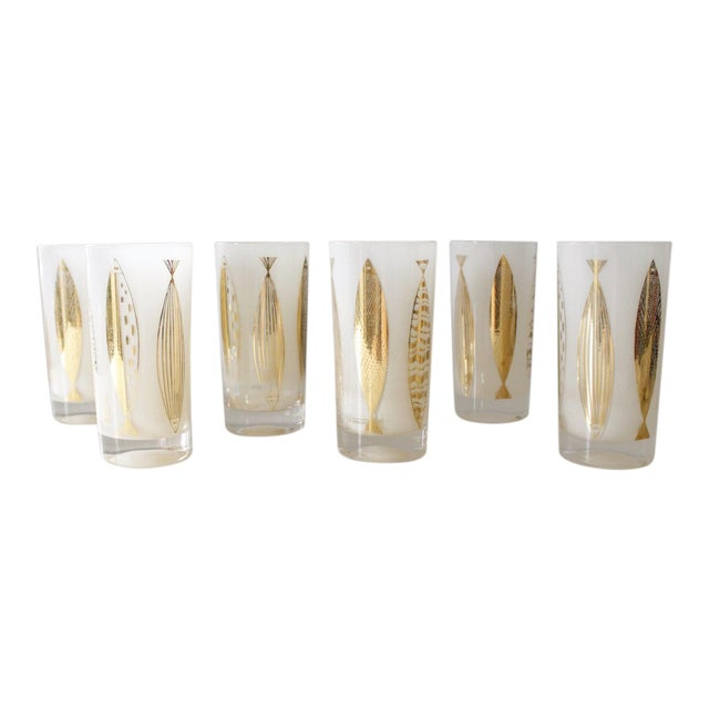 Fred Press White & Gold Fish Glasses - Set of 6 - Image 1 of 6