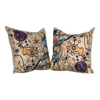 Pair of Modern Tapestry Pillows For Sale