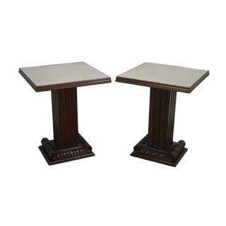 Grosfield House Hollywood Regency Pair Mahogany Mirror Top Column Side Tables For Sale