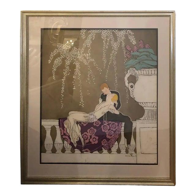 1980s Art Nouveau Batik of Lovers, Framed For Sale