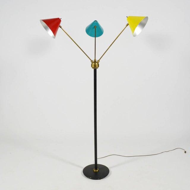 Enamel Italian Three-Arm Floor Lamp For Sale - Image 7 of 11