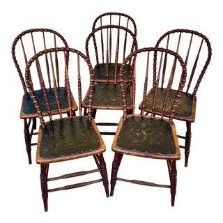 19th Century American Bow Back Dining Chairs- Set of 6 For Sale