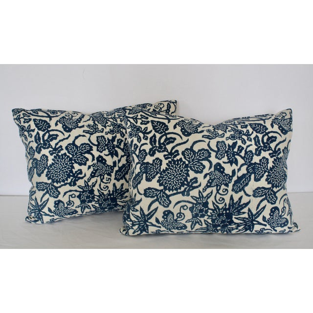 2000s French Blue Floral/Fauna Block Print Pillows - a Pair For Sale - Image 5 of 5