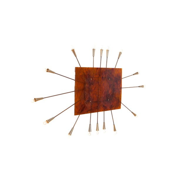 Mid-Century Modern Wall Mounted Sun Lamp in Brass & Resin For Sale - Image 3 of 11