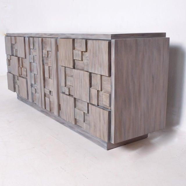 Brutalist Mid-Century Modern Brutalist Dresser, Lane Patchwork Walnut Tiles, After Paul Evans For Sale - Image 3 of 10