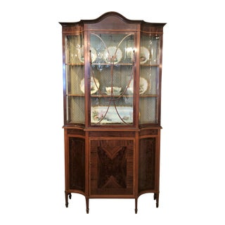 Antique English Mahogany Display Cabinet, Circa 1890's. For Sale