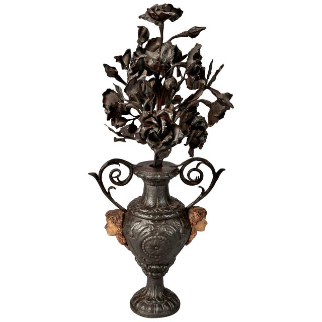 19th Century French Iron Urn with Flowers and Putti Faces - Image 2 of 7