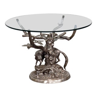 Mid-Century Modern Sculptural Glass Top End Table For Sale