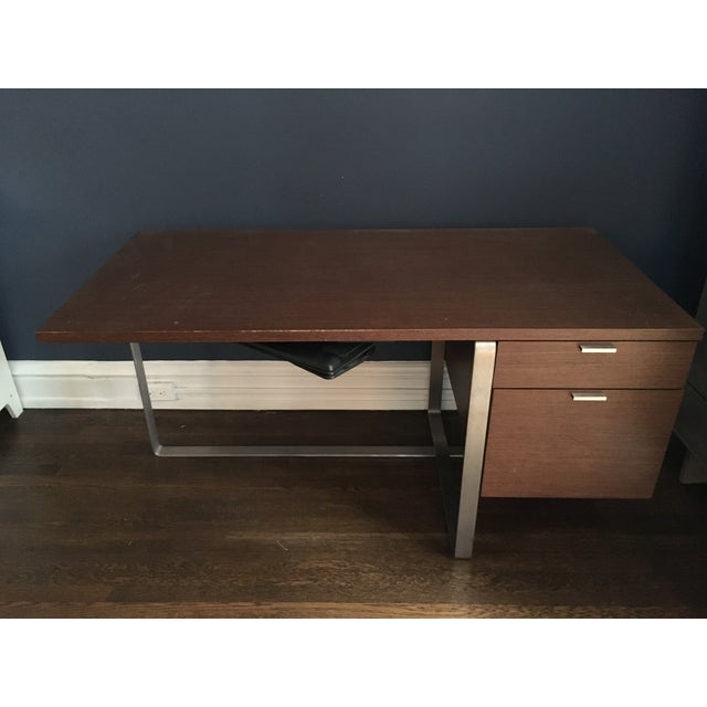 Modern Wood and Stainless Steel Desk - Image 3 of 3