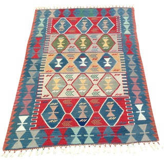 "Boho Chic Turkish Hand Woven Wool Kilim Rug - 4'2"" X 5'11""-Geometric-Colorful Rug-Flatweave-Mid Century Modern Decor Accent Rug For Sale"