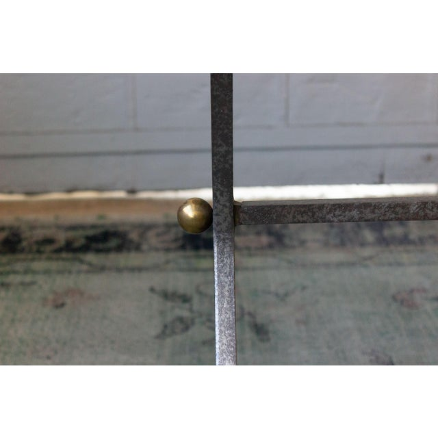 Brushed Steel and Brass End Table For Sale - Image 9 of 11