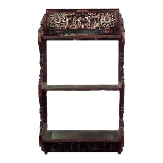 Asian Chinese Style Maroon Lacquered and Gilt Carved Wall Shelf For Sale