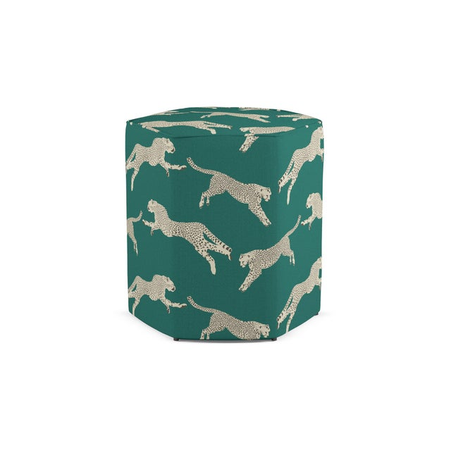 Transitional Hexagonal Ottoman in Polo Green Cheetah By Scalamandre For Sale - Image 3 of 3
