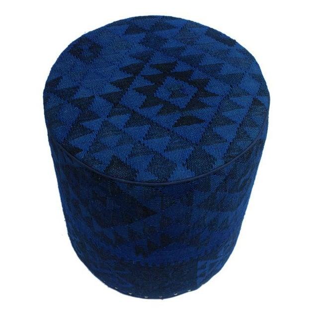 Mid-Century Modern Arshs Deandre Blue/Drk. Blue Kilim Upholstered Handmade Ottoman For Sale - Image 3 of 8