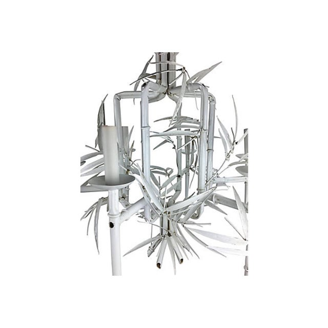 Italian Faux-Bamboo White Chandelier For Sale - Image 4 of 5