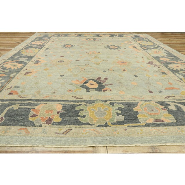 Textile Contemporary Turkish Oushak Rug With Modern Style - 10'03 X 14'02 For Sale - Image 7 of 9
