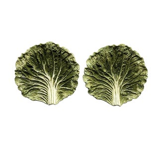 Majolica 1950s Fitz and Floyd Green Cabbage Ware Plates - a Pair For Sale