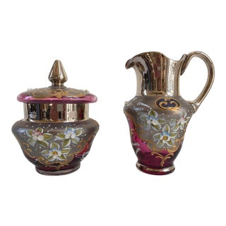 Venetian Murano Cranberry Art Glass 24k-Gold Cream and Sugar Bowl - a Pair For Sale