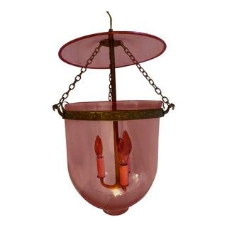 Cranberry Glass Bell Jar Pendant Light For Sale