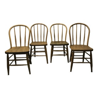 Antique Wood Windsor Style Chairs - Set of 4
