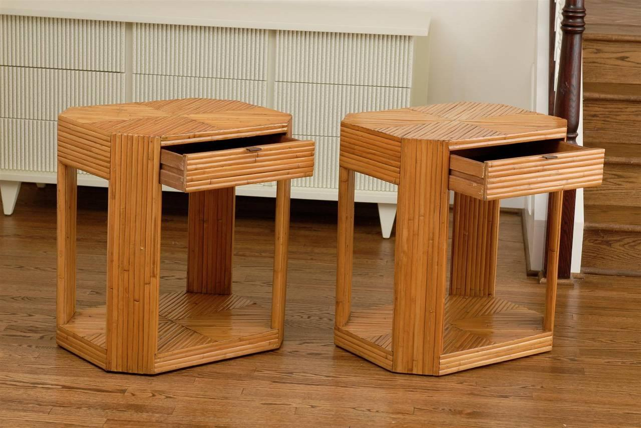 Divine Pair Of Vintage Split Bamboo End Tables Or Night Stands   Image 4 Of  9