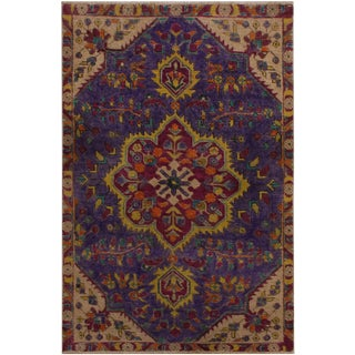 Vintage Distressed Armand Purple/Tan Wool Rug - 2′11″ × 4′6″ For Sale