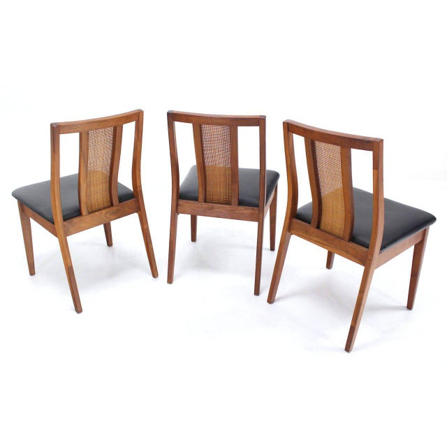 Set of Four Danish Mid-Century Modern Oiled Walnut Side Dining Chairs For Sale - Image 4 of 9