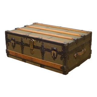 Canvas and Wood Cabin Trunk C.1875 For Sale