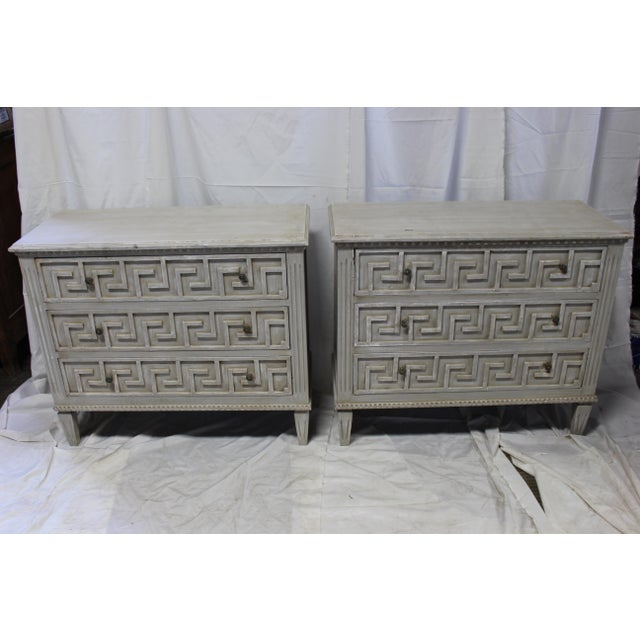 Early 20th Century 20th Century Gustavian Bedside Greek Key Gray Oak Chests - a Pair For Sale - Image 5 of 5