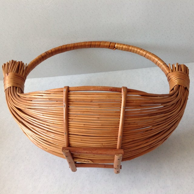 Brown Vintage Handmade Wicker Rattan Basket For Sale - Image 8 of 9