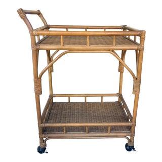 Vintage Bamboo Bar Cart For Sale