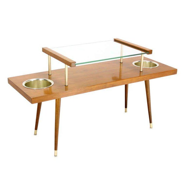 Glass Mid-Century Modern Walnut and Glass-Top Console Table With Planters For Sale - Image 7 of 10