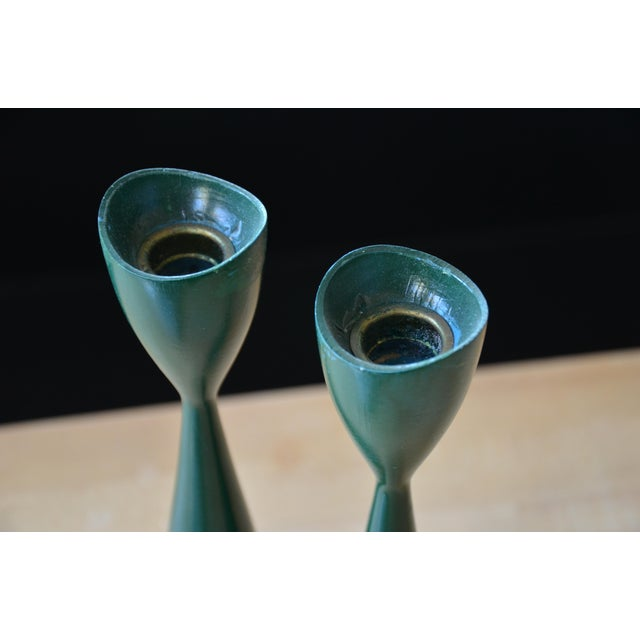 Danish Modern Green Candle Holders - a Pair - Image 6 of 7