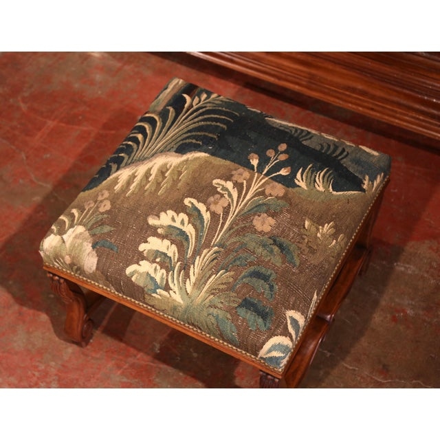 Blue 19th Century French Louis XIII Carved Walnut Stool with Verdure Aubusson Tapestry For Sale - Image 8 of 11