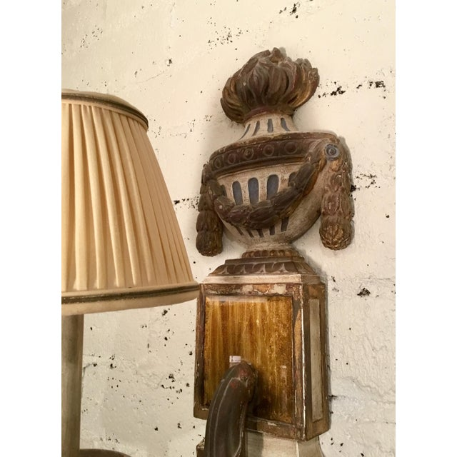 Late 19th Century 19th Century Painted French Wall Sconces - a Pair For Sale - Image 5 of 13