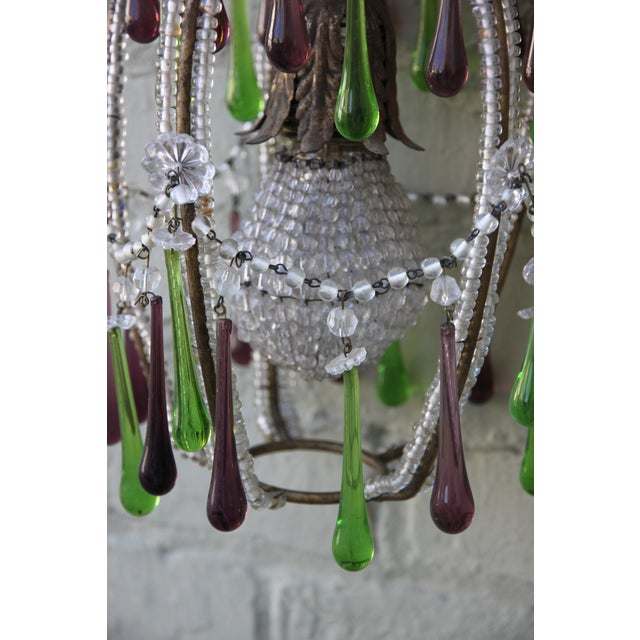 Pineapple Green & Purple Drop Chandelier - Image 6 of 9
