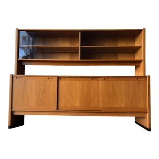 Vintage Mid Century Modern Sideboard Credenza With Hutch by Skovby Mobelfabrik Denmark For Sale