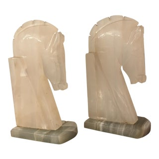 Vintage Agate Horse Head Bookends - a Pair For Sale